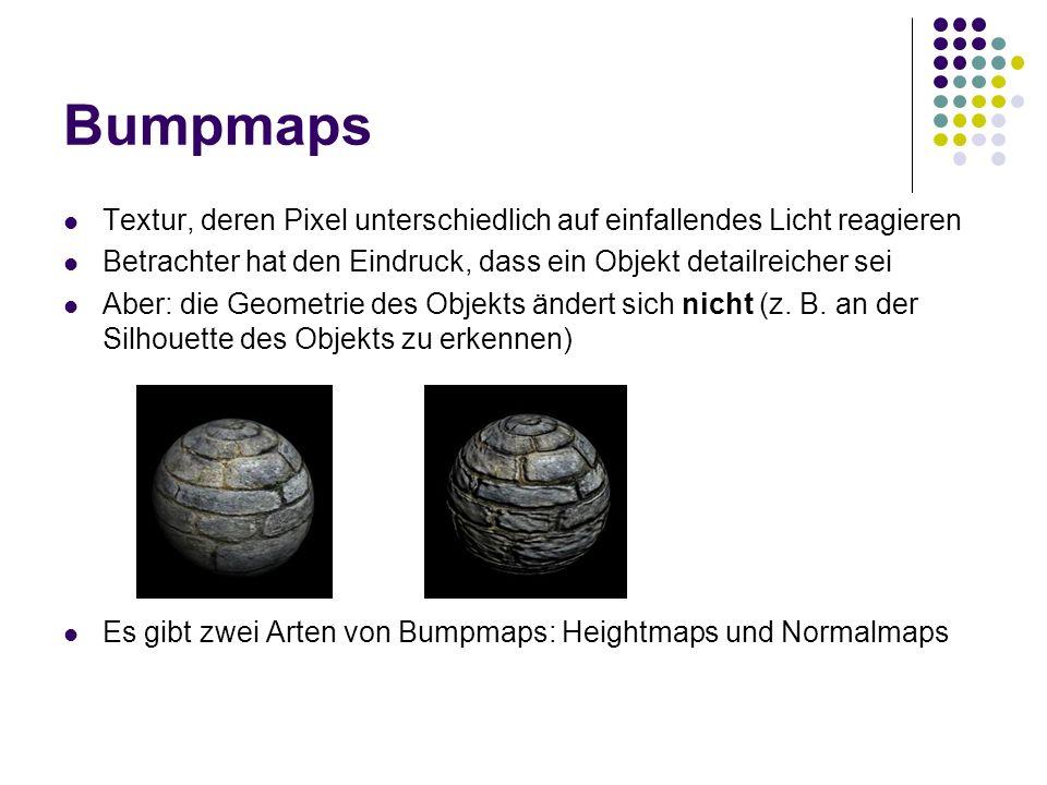 Bumpmaps Textur, deren Pixel unterschiedlich auf einfallendes Licht reagieren Betrachter hat den Eindruck, dass ein Objekt detailreicher sei Aber: die Geometrie des Objekts ändert sich nicht (z.