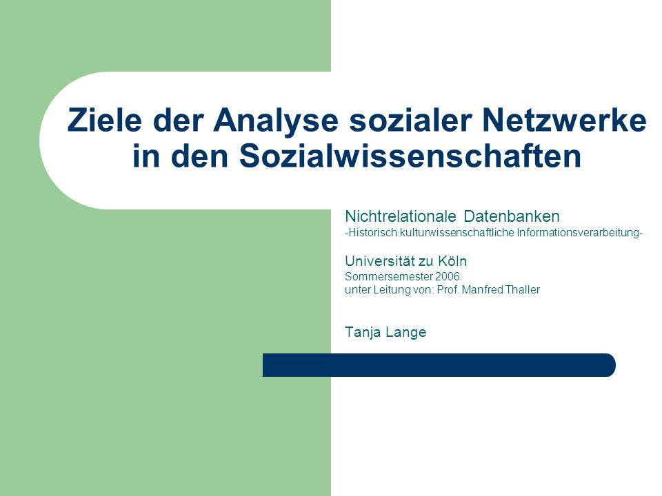06.07.2006Ziele der Analyse sozialer Netzwerke in den Sozialwissenschaften Soziales Netzwerk genau definierte Menge an Akteuren und zwischen ihnen bestehende Beziehungen