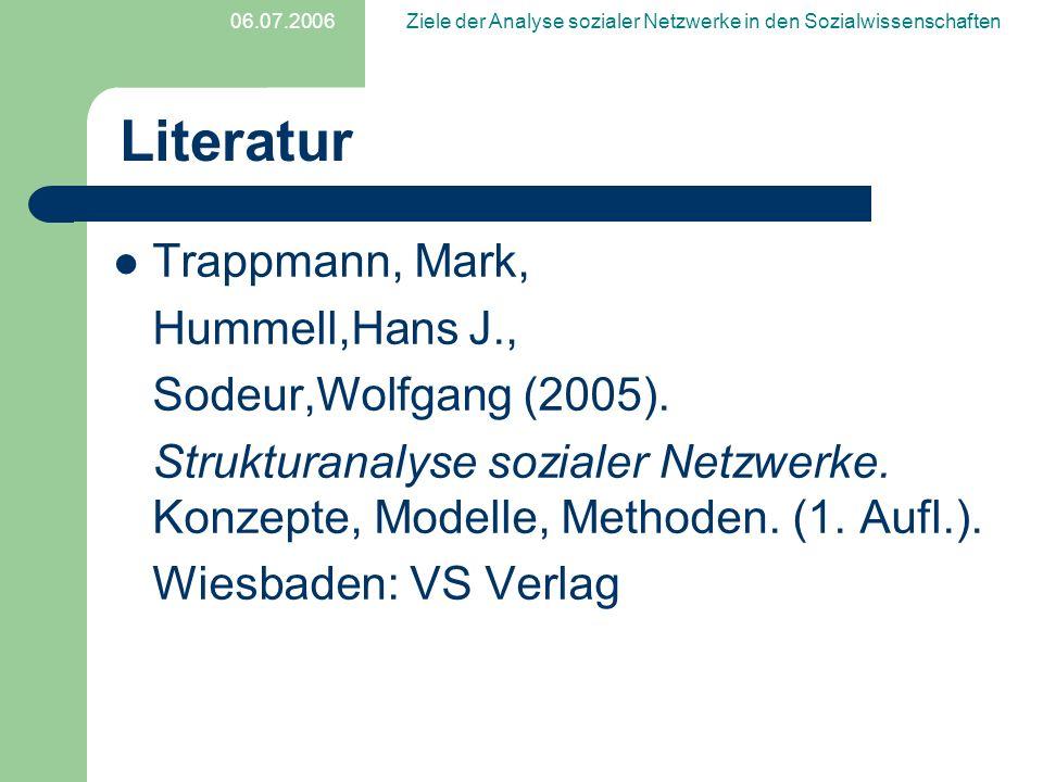 06.07.2006Ziele der Analyse sozialer Netzwerke in den Sozialwissenschaften Literatur Trappmann, Mark, Hummell,Hans J., Sodeur,Wolfgang (2005). Struktu