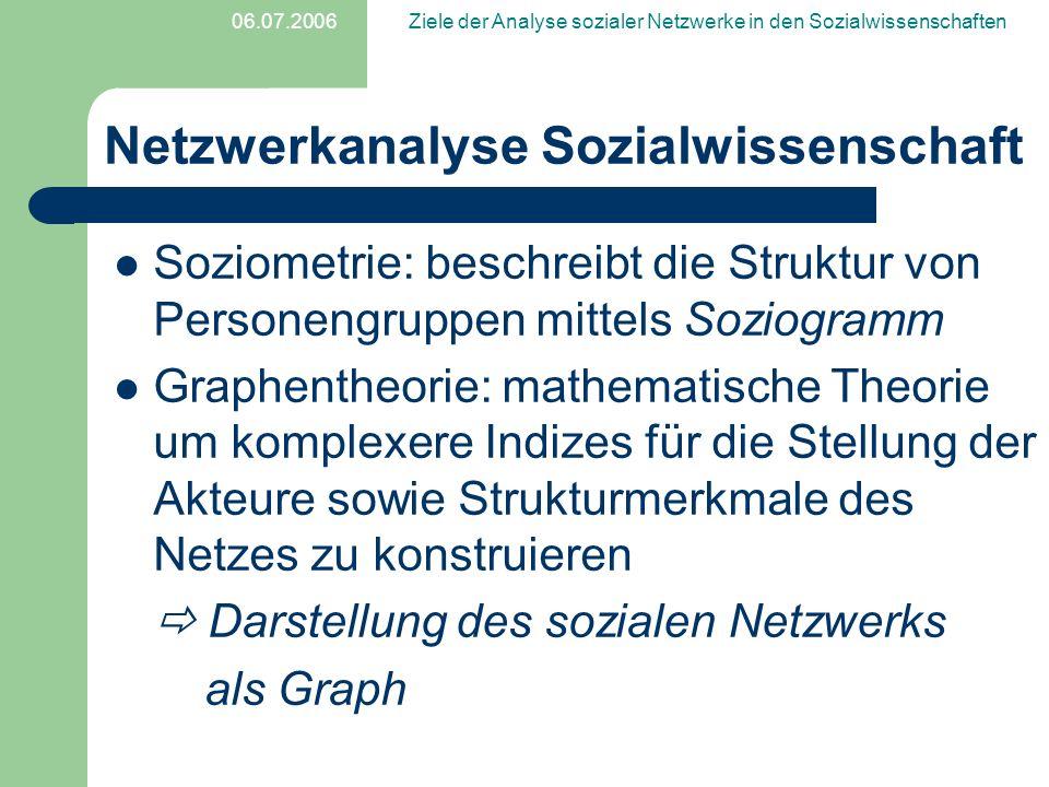 06.07.2006Ziele der Analyse sozialer Netzwerke in den Sozialwissenschaften Eigenschaften relationale Eigenschaften der Akteure = Eigenschaften, die sich auf das Verhältnis / die Beziehung zu anderen Akteuren beziehen Strukturelle Eigenschaften = Eigenschaften von Akteur-Paaren und Teilgruppen zueinander
