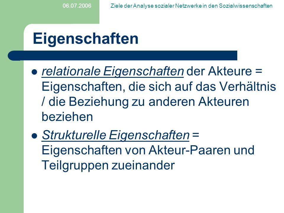 06.07.2006Ziele der Analyse sozialer Netzwerke in den Sozialwissenschaften Eigenschaften relationale Eigenschaften der Akteure = Eigenschaften, die si