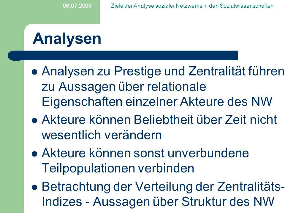 06.07.2006Ziele der Analyse sozialer Netzwerke in den Sozialwissenschaften Analysen Analysen zu Prestige und Zentralität führen zu Aussagen über relat