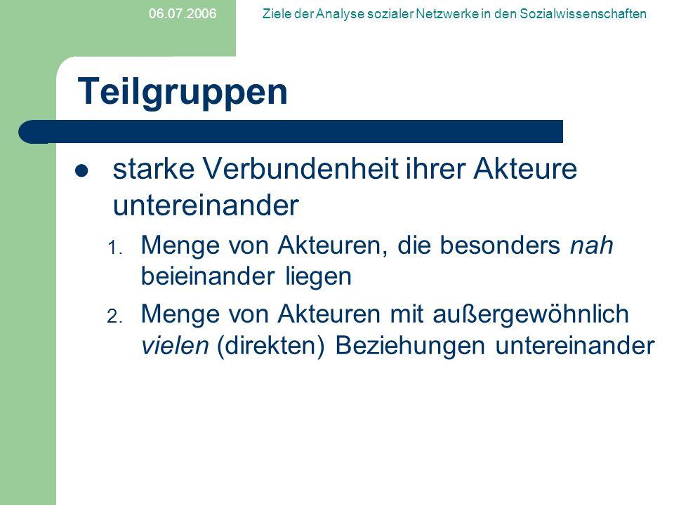 06.07.2006Ziele der Analyse sozialer Netzwerke in den Sozialwissenschaften Literatur Trappmann, Mark, Hummell,Hans J., Sodeur,Wolfgang (2005).