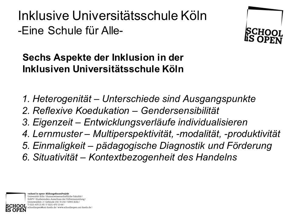 Sechs Aspekte der Inklusion in der Inklusiven Universitätsschule Köln Inklusive Universitätsschule Köln -Eine Schule für Alle- 1. Heterogenität – Unte