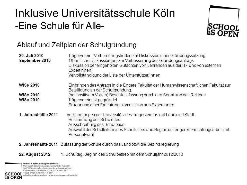 Inklusive Universitätsschule Köln -Eine Schule für Alle- 20. Juli 2010Trägerverein: Vorbereitungstreffen zur Diskussion einer Gründungssatzung Septemb