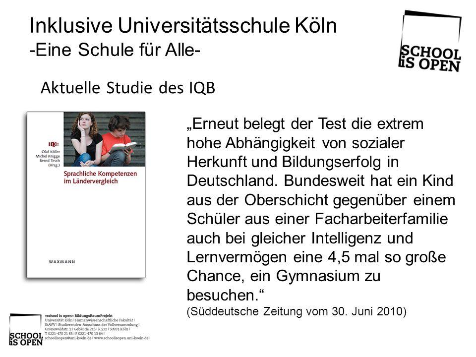 Inklusive Universitätsschule Köln -Eine Schule für Alle- Leitideen Gemeinsame Bildung in der Schulgesellschaft Individuelle und allgemeine Probleme lösen Eigen- und Mitverantwortung Forschungen für sich und mit anderen Achtsam sein mit sich und anderen Grenzen erkennen und beachten Umgang mit Scheitern lernen