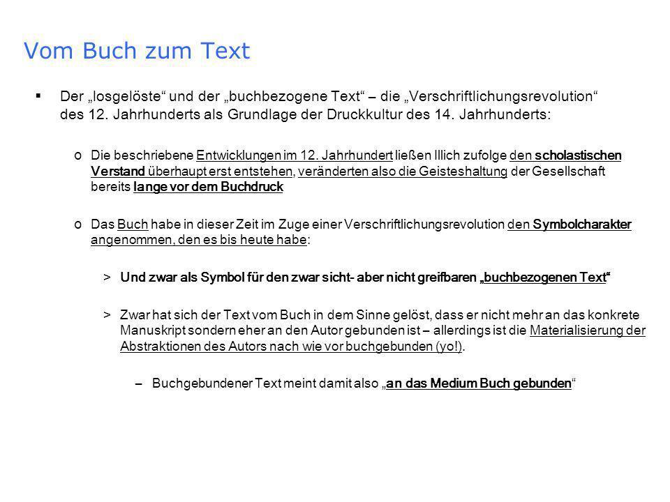 Vom Buch zum Text Der losgelöste und der buchbezogene Text – die Verschriftlichungsrevolution des 12.