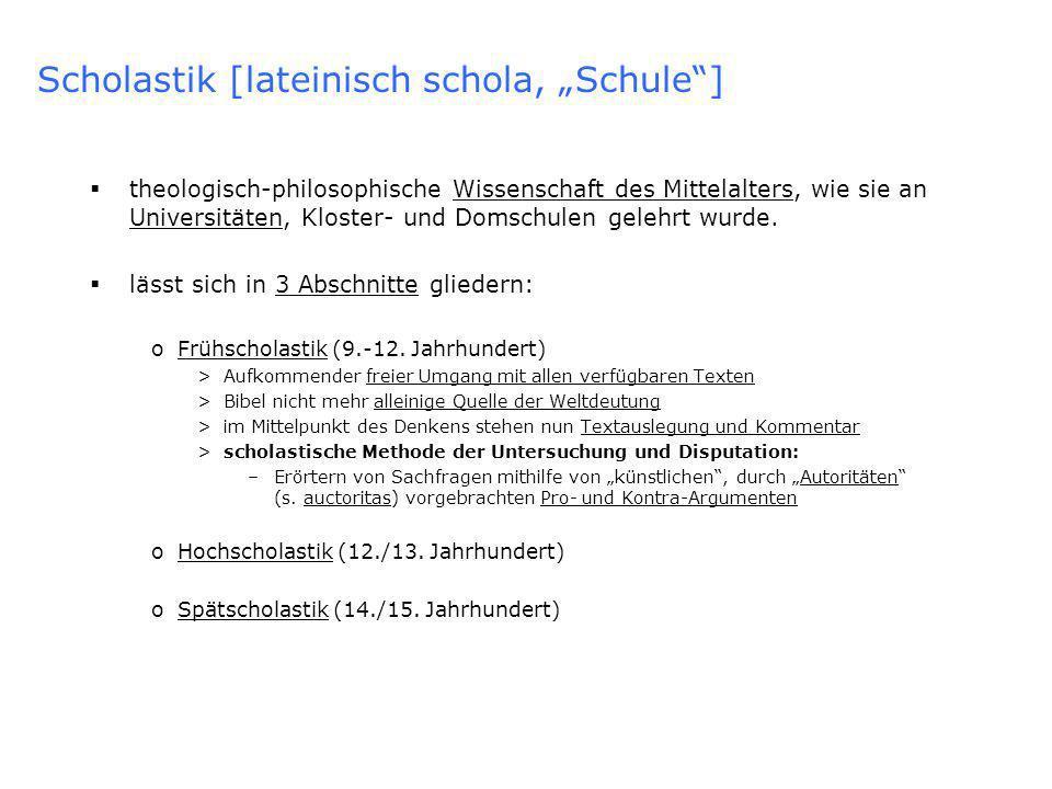 Scholastik [lateinisch schola, Schule] theologisch-philosophische Wissenschaft des Mittelalters, wie sie an Universitäten, Kloster- und Domschulen gelehrt wurde.