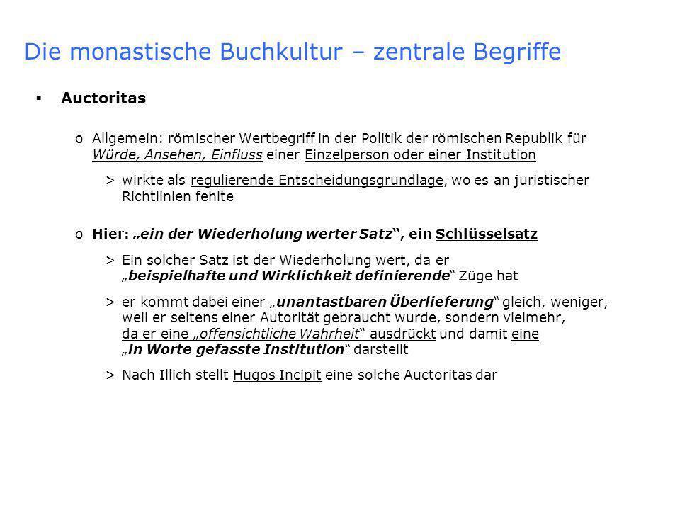 Die monastische Buchkultur – lateinisches Mönchtum Ende der Alleinherrschaft des Lateins: o Die (auf Hugo & Co.) nachfolgende monastische Generation entdeckte, dass sich mit Hilfe des lateinischen Alphabets auch mundartliche Texte verfassen ließen o Das lateinische Alphabet wurde also erstmals in größerem umfang dazu verwendet, sprachliche Laute, wirkliche Rede also, aufzuzeichnen o Dies geschah anfangs vor allem mit deutschen und provençalischen Mundarten >Allerdings wurde dabei zu Beginn nicht direkt aus einer Mundart in die andere übersetzt, sondern immer erst der Umweg über das lateinische genommen >Illich zieht hieraus den Schluss, dass eine Alphabetisierung des Sprechens zumindest während einer Übergangsphase nicht unmittelbar zum Entstehen neuer, mit dem Lateinischen gleichwertige, Sprachen geführt habe.