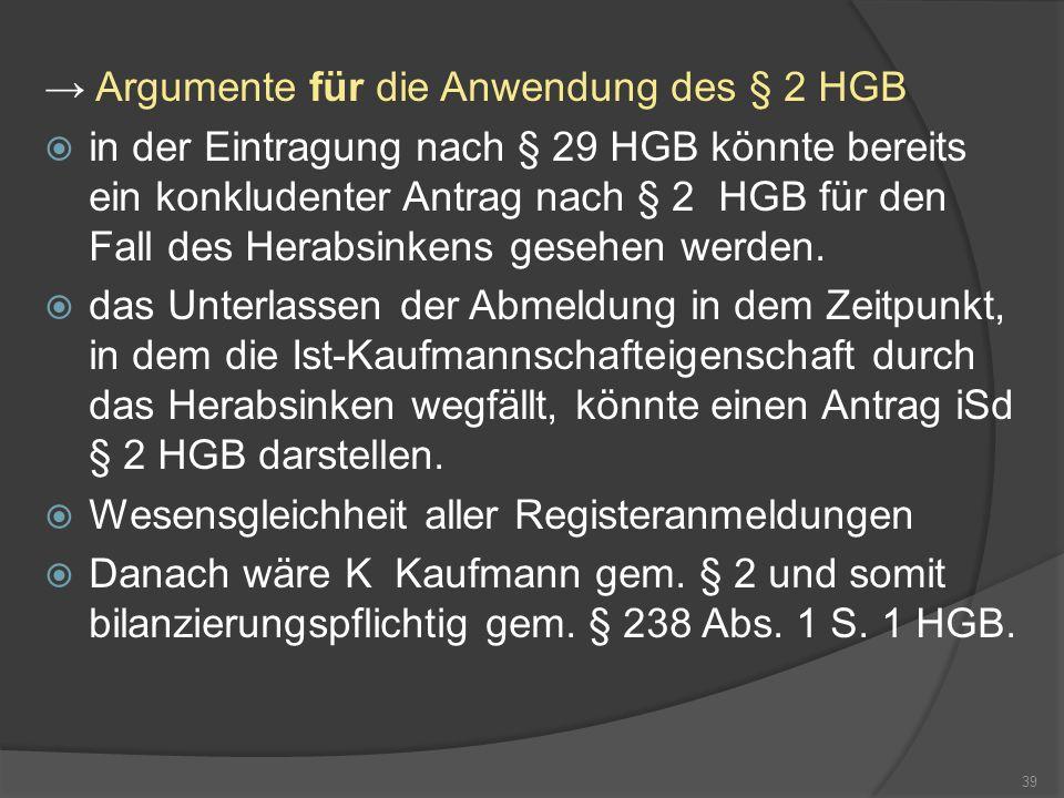 Argumente für die Anwendung des § 2 HGB in der Eintragung nach § 29 HGB könnte bereits ein konkludenter Antrag nach § 2 HGB für den Fall des Herabsink