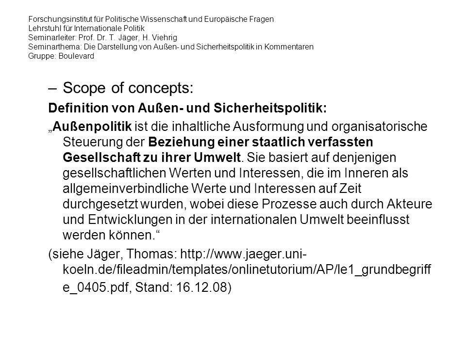 Forschungsinstitut für Politische Wissenschaft und Europäische Fragen Lehrstuhl für Internationale Politik Seminarleiter: Prof.