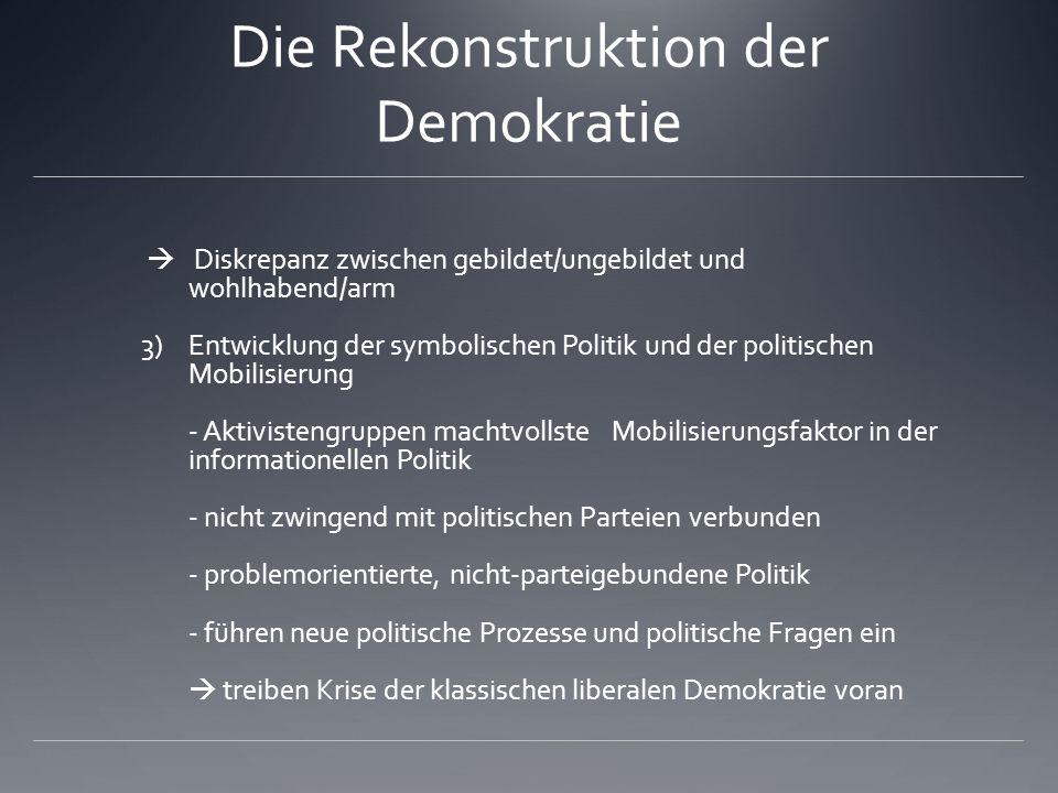 Die Rekonstruktion der Demokratie Diskrepanz zwischen gebildet/ungebildet und wohlhabend/arm 3)Entwicklung der symbolischen Politik und der politische