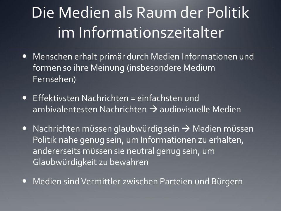 Die Medien als Raum der Politik im Informationszeitalter Politische Vorschläge und Kandidaturen haben ohne Medienpräsenz keine Chance Unterstützung zu bekommen.