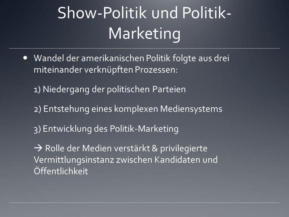 Show-Politik und Politik- Marketing Wandel der amerikanischen Politik folgte aus drei miteinander verknüpften Prozessen: 1) Niedergang der politischen