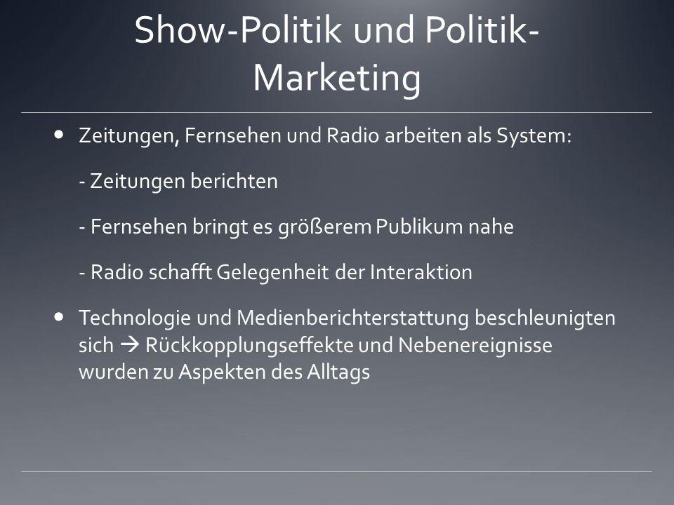Show-Politik und Politik- Marketing Zeitungen, Fernsehen und Radio arbeiten als System: - Zeitungen berichten - Fernsehen bringt es größerem Publikum