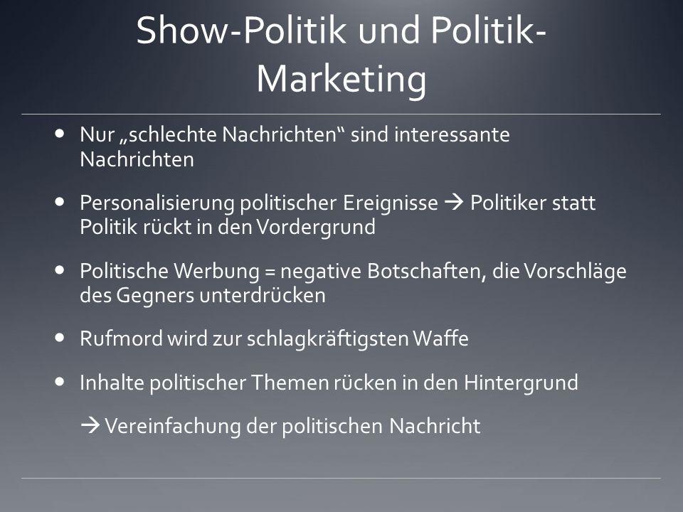 Show-Politik und Politik- Marketing Nur schlechte Nachrichten sind interessante Nachrichten Personalisierung politischer Ereignisse Politiker statt Po