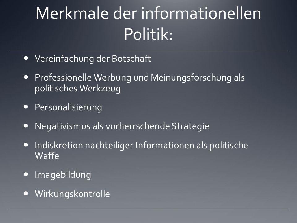 Merkmale der informationellen Politik: Vereinfachung der Botschaft Professionelle Werbung und Meinungsforschung als politisches Werkzeug Personalisier