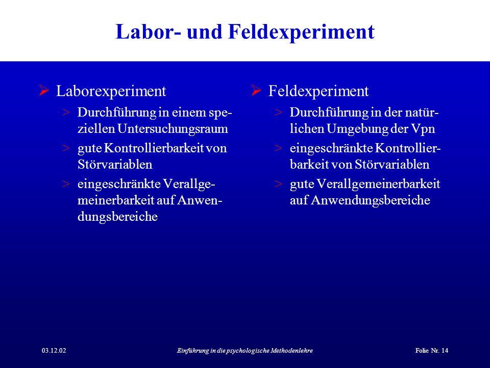 03.12.02Einführung in die psychologische MethodenlehreFolie Nr. 14 Labor- und Feldexperiment Laborexperiment >Durchführung in einem spe- ziellen Unter