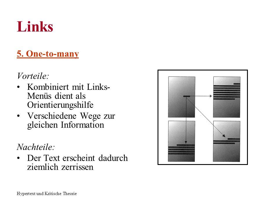 Hypertext und Kritische Theorie Links 5. One-to-many Vorteile: Kombiniert mit Links- Menüs dient als Orientierungshilfe Verschiedene Wege zur gleichen