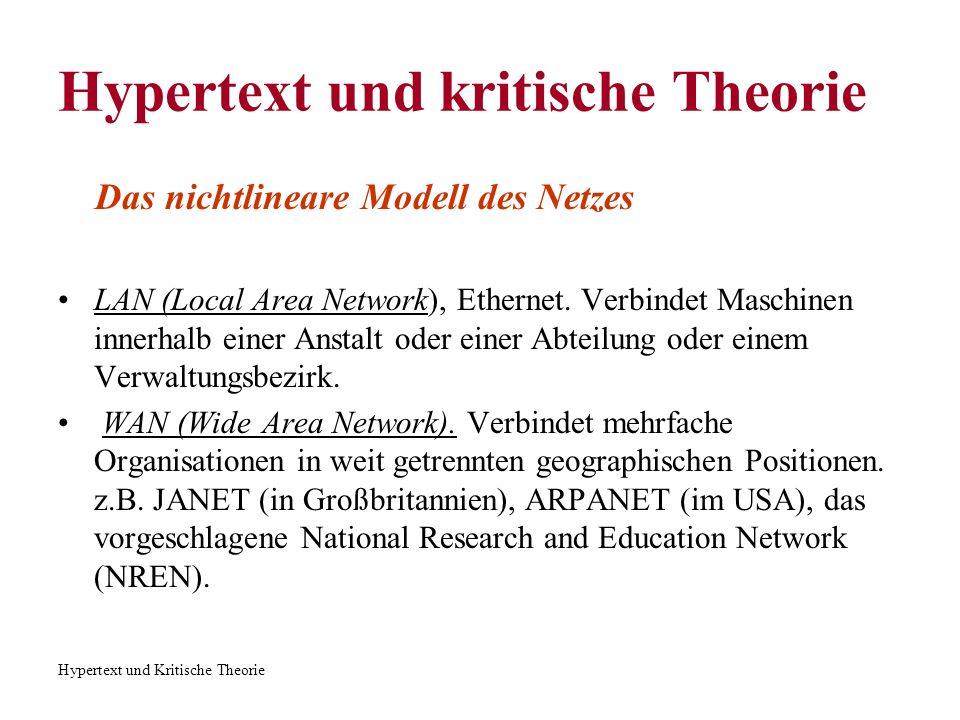 Hypertext und Kritische Theorie Hypertext und kritische Theorie Das nichtlineare Modell des Netzes LAN (Local Area Network), Ethernet. Verbindet Masch