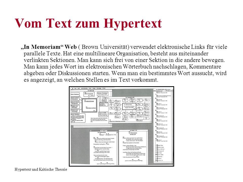 Hypertext und Kritische Theorie Vom Text zum Hypertext In Memoriam Web ( Brown Universität) verwendet elektronische Links für viele parallele Texte. H