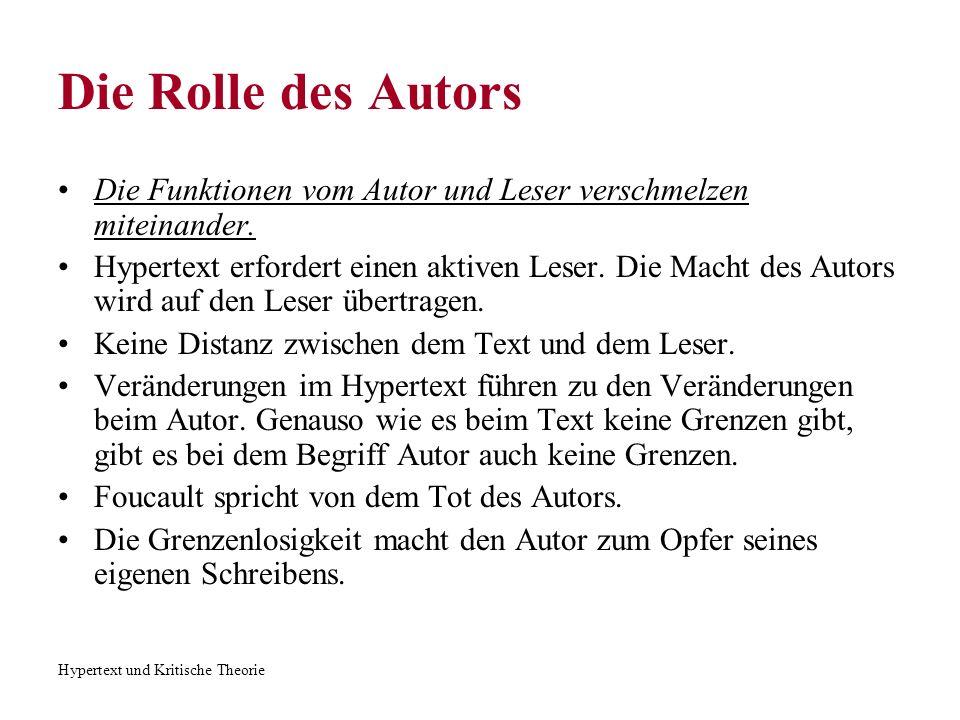 Hypertext und Kritische Theorie Die Rolle des Autors Die Funktionen vom Autor und Leser verschmelzen miteinander. Hypertext erfordert einen aktiven Le