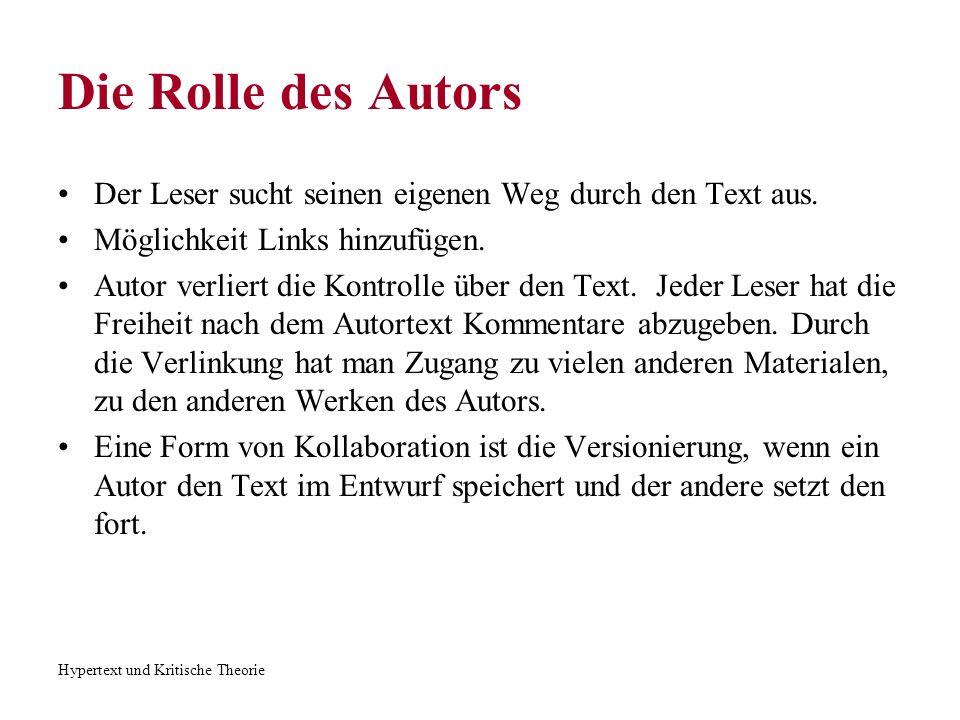 Hypertext und Kritische Theorie Die Rolle des Autors Der Leser sucht seinen eigenen Weg durch den Text aus. Möglichkeit Links hinzufügen. Autor verlie