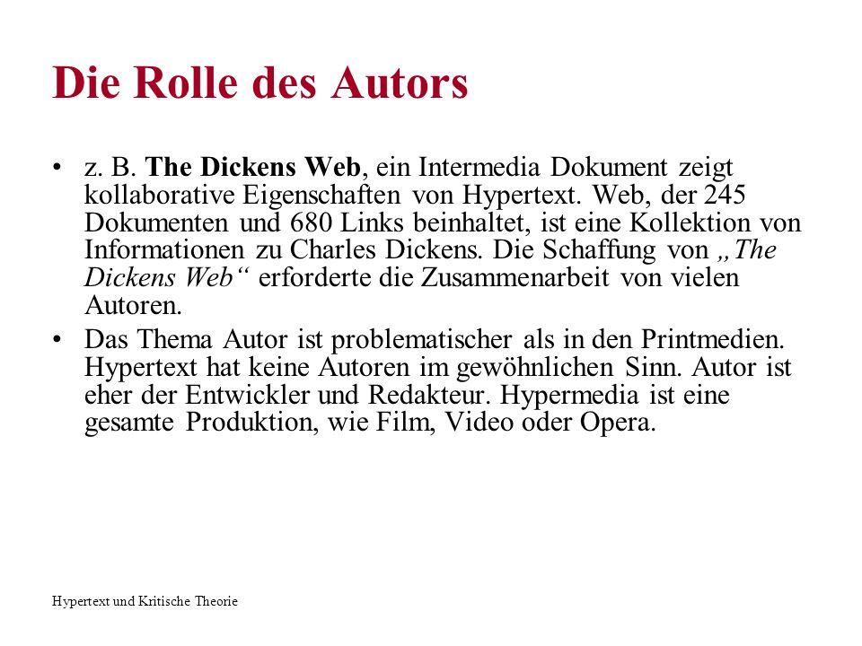 Hypertext und Kritische Theorie Die Rolle des Autors z. B. The Dickens Web, ein Intermedia Dokument zeigt kollaborative Eigenschaften von Hypertext. W