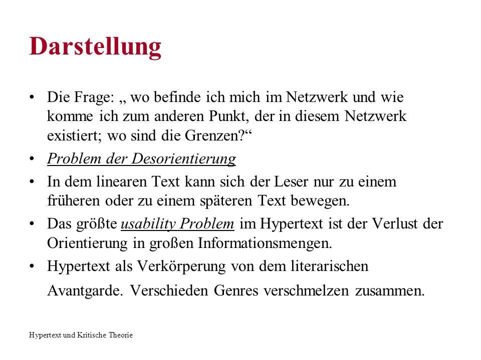 Hypertext und Kritische Theorie Darstellung Die Frage: wo befinde ich mich im Netzwerk und wie komme ich zum anderen Punkt, der in diesem Netzwerk exi
