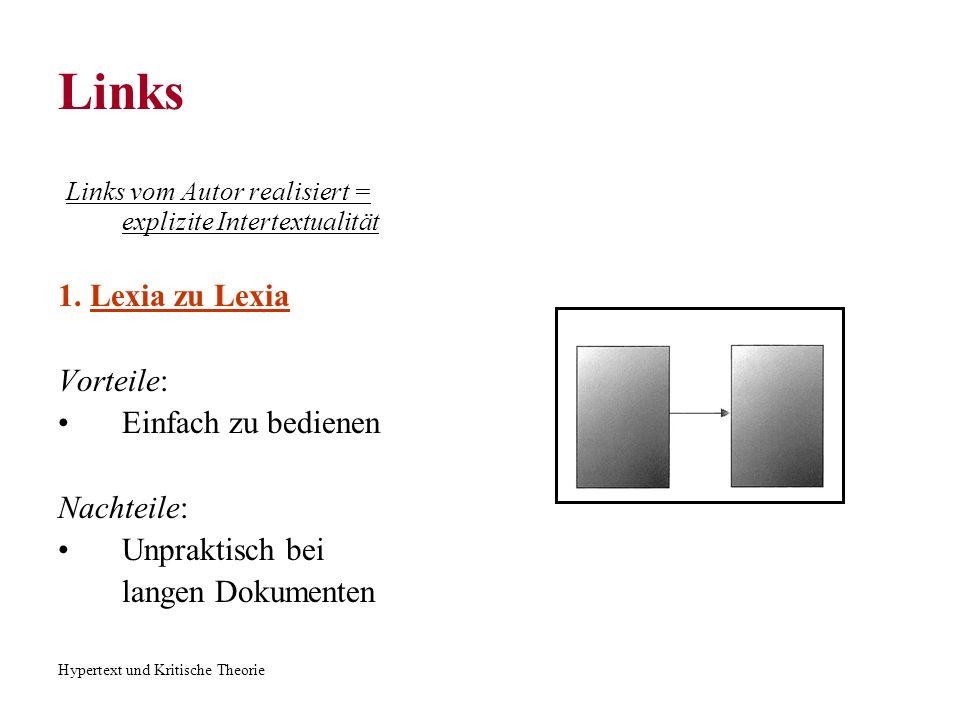 Hypertext und Kritische Theorie Links Links vom Autor realisiert = explizite Intertextualität 1. Lexia zu Lexia Vorteile: Einfach zu bedienen Nachteil