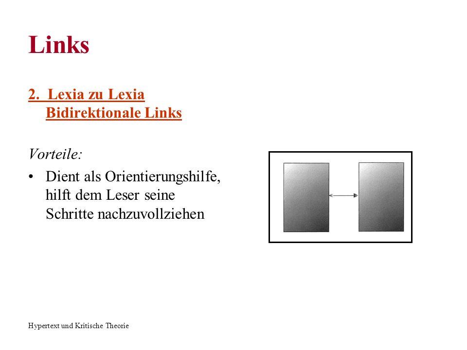 Hypertext und Kritische Theorie Links 2. Lexia zu Lexia Bidirektionale Links Vorteile: Dient als Orientierungshilfe, hilft dem Leser seine Schritte na