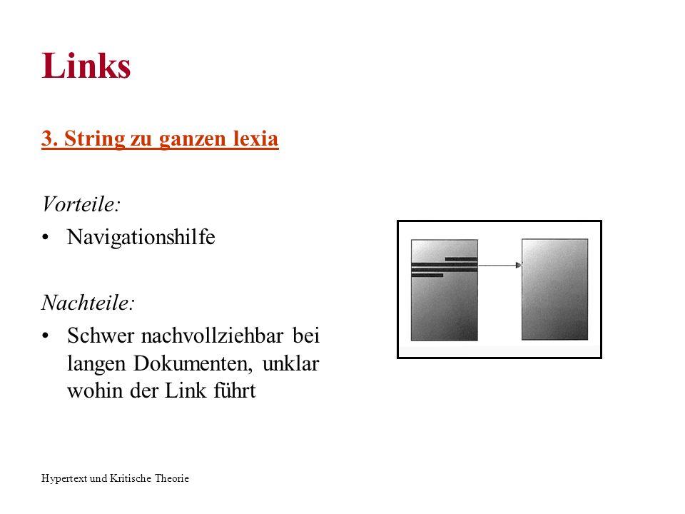 Hypertext und Kritische Theorie Links 3. String zu ganzen lexia Vorteile: Navigationshilfe Nachteile: Schwer nachvollziehbar bei langen Dokumenten, un