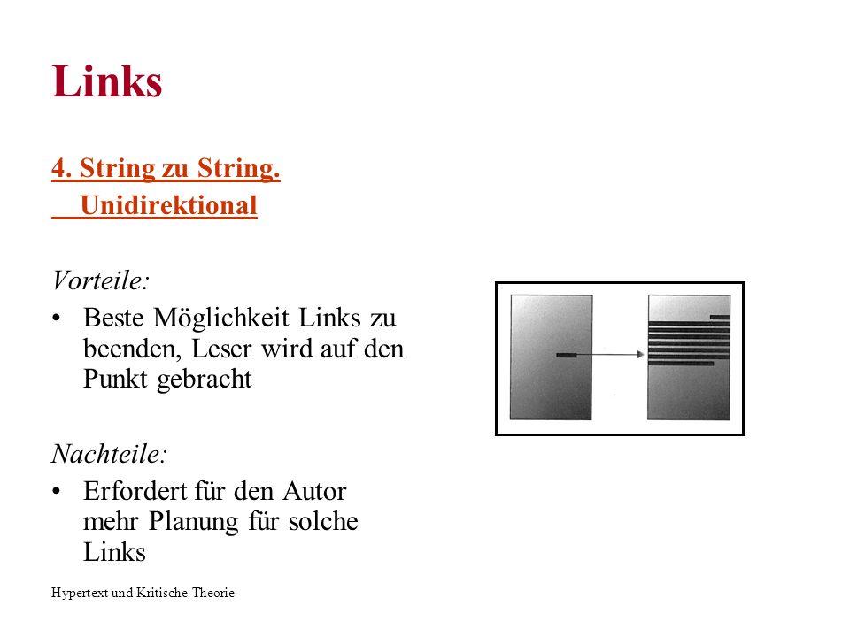 Hypertext und Kritische Theorie Links 4. String zu String. Unidirektional Vorteile: Beste Möglichkeit Links zu beenden, Leser wird auf den Punkt gebra