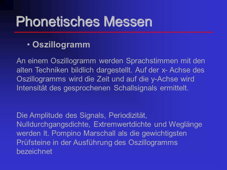 Phonetisches Messen Oszillogramm An einem Oszillogramm werden Sprachstimmen mit den alten Techniken bildlich dargestellt. Auf der x- Achse des Oszillo