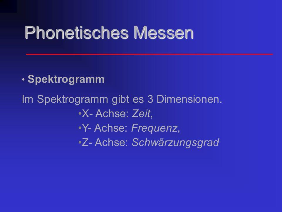 Phonetisches Messen Spektrogramm Im Spektrogramm gibt es 3 Dimensionen. X- Achse: Zeit, Y- Achse: Frequenz, Z- Achse: Schwärzungsgrad