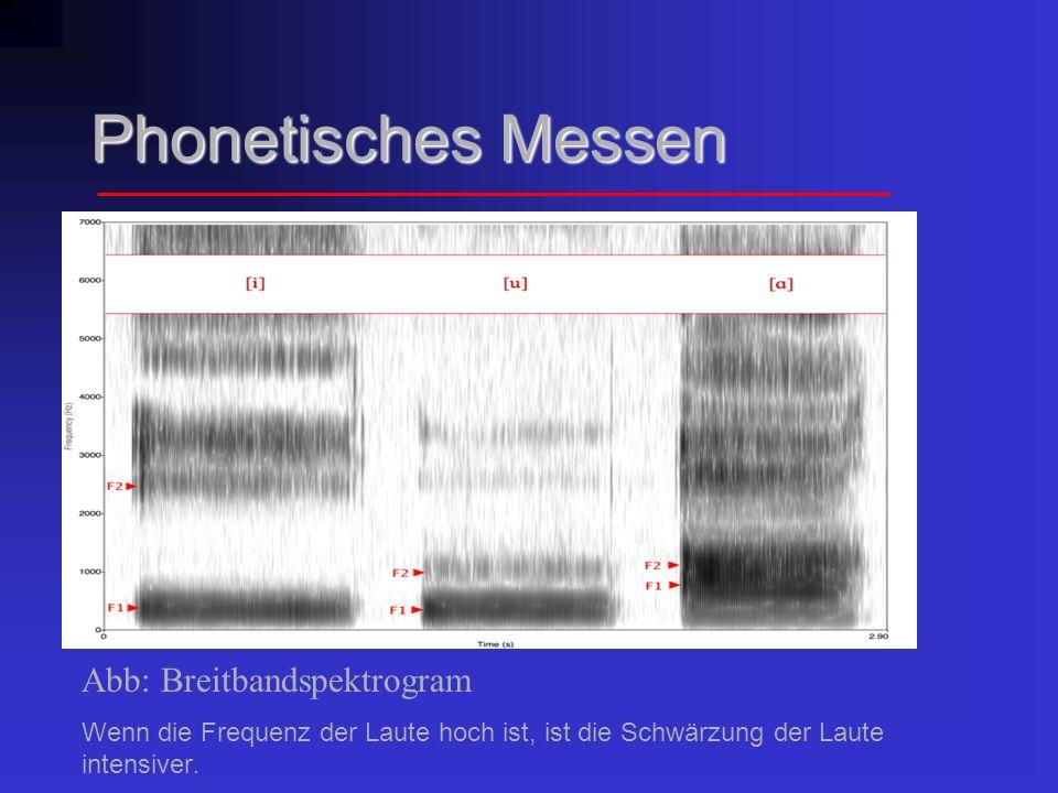 Phonetisches Messen Schmallbandspektrogramm:hat eine hohe Auflösung im Frequenzbereich und demzufolge den Tonhöhenverlauf sowie die Lage und den Verlauf der Harmonischen (Obertöne) demonstriert.