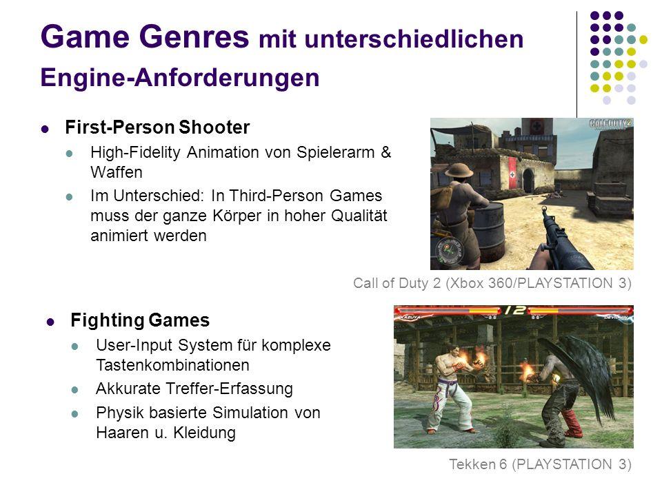 Game Genres mit unterschiedlichen Engine-Anforderungen First-Person Shooter High-Fidelity Animation von Spielerarm & Waffen Im Unterschied: In Third-P