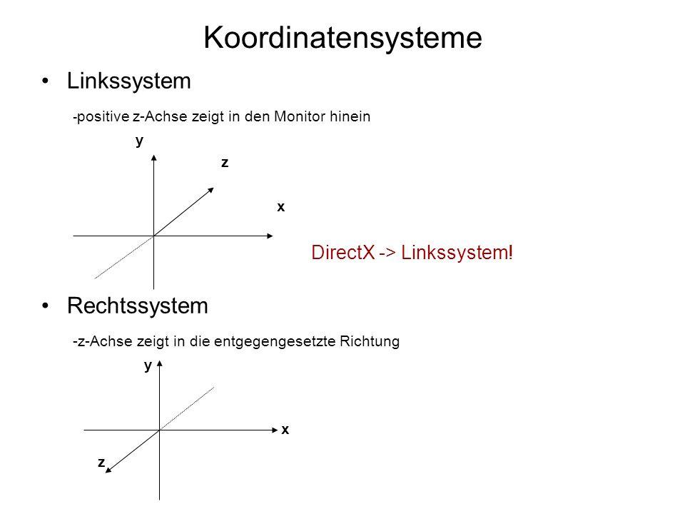 Koordinatensysteme Linkssystem - positive z-Achse zeigt in den Monitor hinein y z x DirectX -> Linkssystem! Rechtssystem -z-Achse zeigt in die entgege