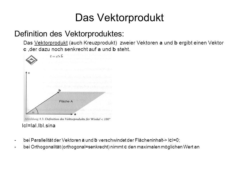 Das Vektorprodukt Definition des Vektorproduktes: Das Vektorprodukt (auch Kreuzprodukt) zweier Vektoren a und b ergibt einen Vektor c,der dazu noch se