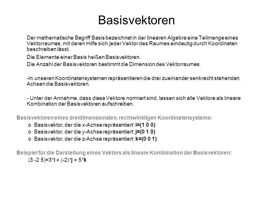 Basisvektoren Der mathematische Begriff Basis bezeichnet in der linearen Algebra eine Teilmenge eines Vektorraumes, mit deren Hilfe sich jeder Vektor