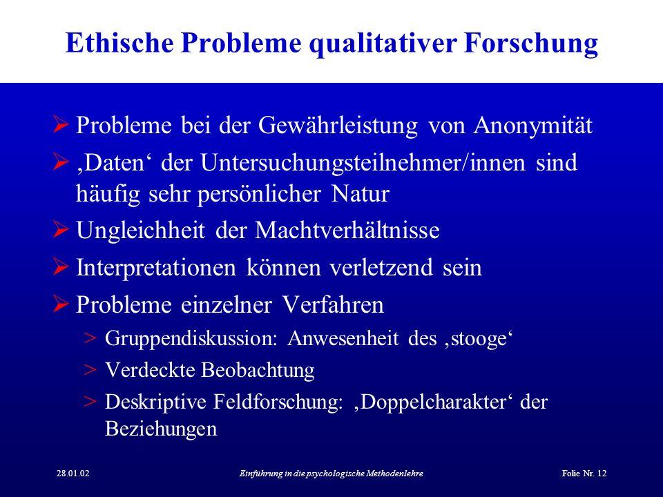28.01.02Einführung in die psychologische MethodenlehreFolie Nr. 12 Ethische Probleme qualitativer Forschung Probleme bei der Gewährleistung von Anonym