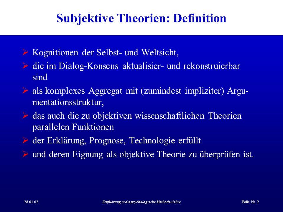 28.01.02Einführung in die psychologische MethodenlehreFolie Nr. 2 Subjektive Theorien: Definition Kognitionen der Selbst- und Weltsicht, die im Dialog