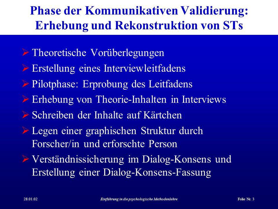 28.01.02Einführung in die psychologische MethodenlehreFolie Nr. 3 Phase der Kommunikativen Validierung: Erhebung und Rekonstruktion von STs Theoretisc