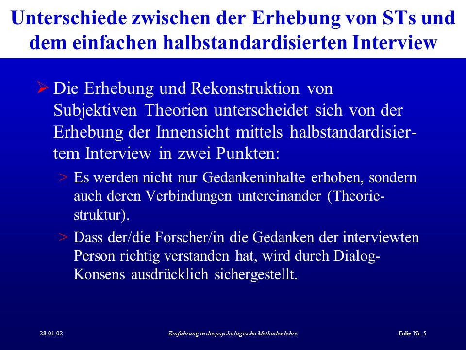 28.01.02Einführung in die psychologische MethodenlehreFolie Nr. 5 Unterschiede zwischen der Erhebung von STs und dem einfachen halbstandardisierten In