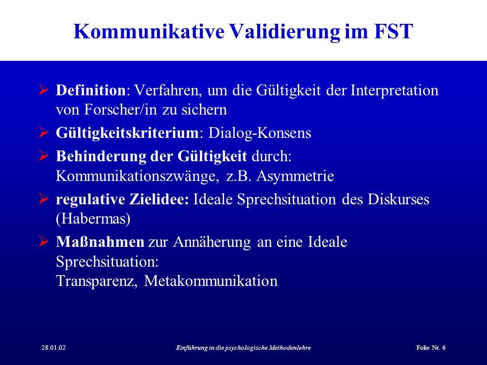 28.01.02Einführung in die psychologische MethodenlehreFolie Nr. 6 Kommunikative Validierung im FST Definition: Verfahren, um die Gültigkeit der Interp