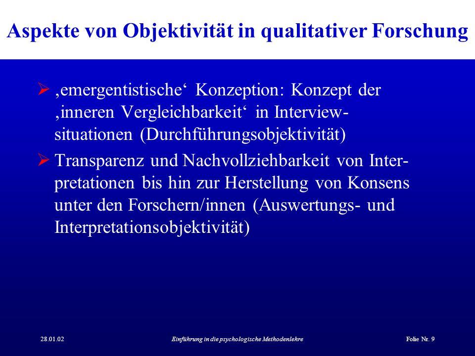 28.01.02Einführung in die psychologische MethodenlehreFolie Nr. 9 Aspekte von Objektivität in qualitativer Forschung emergentistische Konzeption: Konz