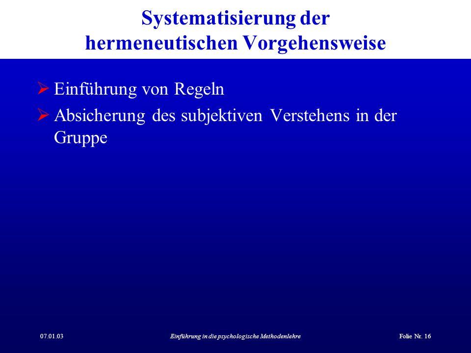 07.01.03Einführung in die psychologische MethodenlehreFolie Nr. 16 Systematisierung der hermeneutischen Vorgehensweise Einführung von Regeln Absicheru