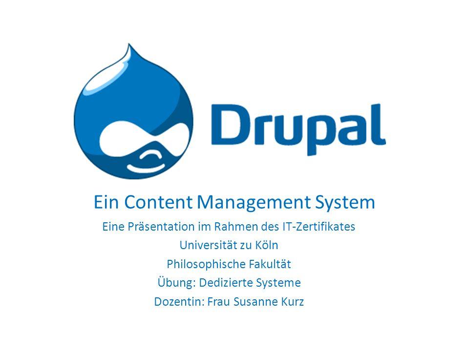 Gliederung 19.04.2012 ITZ: Dedizierte Systeme - Judith Salamon und Sonja Hülsebus 2 1.Was ist Drupal.