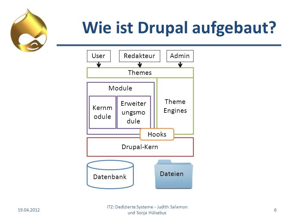 Wie ist Drupal aufgebaut? 19.04.2012 ITZ: Dedizierte Systeme - Judith Salamon und Sonja Hülsebus 6 Datenbank Theme Engines Themes Drupal-Kern Module E