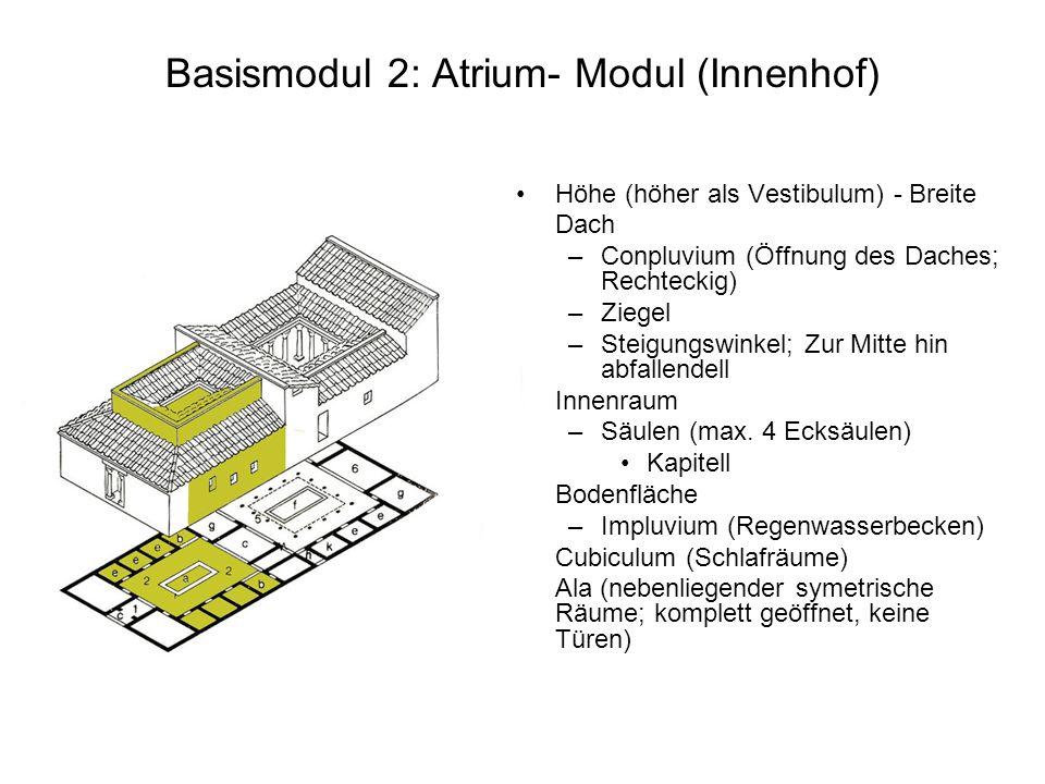 Basismodul 2: Atrium- Modul (Innenhof) Höhe (höher als Vestibulum) - Breite Dach –Conpluvium (Öffnung des Daches; Rechteckig) –Ziegel –Steigungswinkel